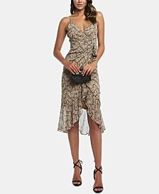 Bardot Ruffle-Hem Tie-Waist Dress