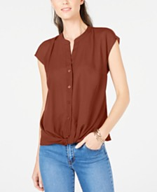I.N.C. Petite Twist-Front Top, Created For Macy's