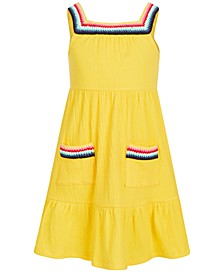 Toddler Girls Crochet-Trim Crinkle Dress, Created for Macy's