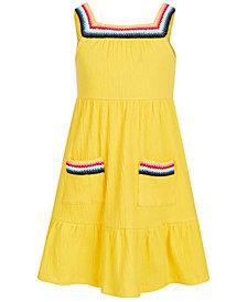 Epic Threads Toddler Girls Crochet-Trim Crinkle Dress, Created for Macy's