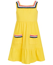 Epic Threads Little Girls Crochet-Trim Crinkle Dress, Created for Macy's