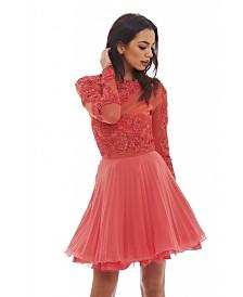 AX Paris Lace Detail Pleated Skater Dress