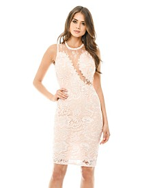 AX Paris Sleeveless Lace Mesh Bodycon Midi Dress