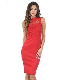 Bodycon Midi Dress Crochet High Neck
