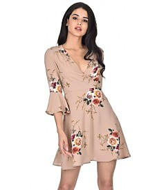 AX Paris Printed Wrap Over Skater Dress