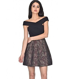 AX Paris and Wine 2In1 Skater Dress with Floral Print
