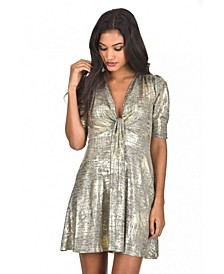 Knot Front Metallic Dress