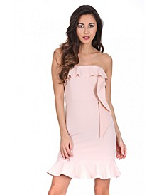 Bandeau Frill Detail Mini Dress
