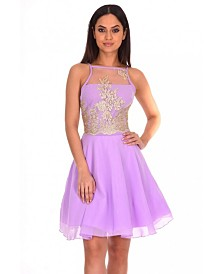 AX Paris Mesh Gold Embroidered Skater Dress