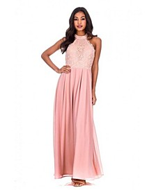 Lace Choker Neck Maxi Dress