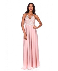 Mesh Embroidery Maxi Dress