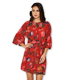 AX Paris Floral Print Tie Front Shift Dress