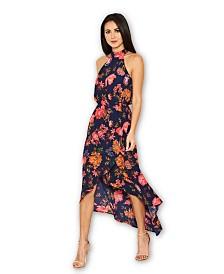 AX Paris Floral Cut in Neck Wrap Dress