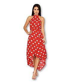 Polka Dot Print High Neck Midi Dress
