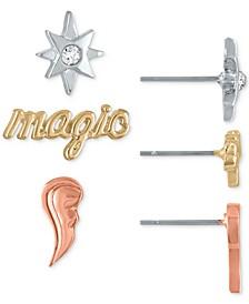 Tri-Tone 3-Pc. Set Magic Themed Stud Earrings