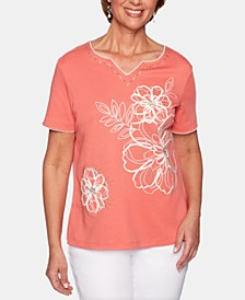 Coastal Drive Floral-Embroidered Studded Top