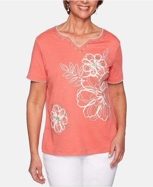 Alfred Dunner Coastal Drive Floral-Embroidered Studded Top