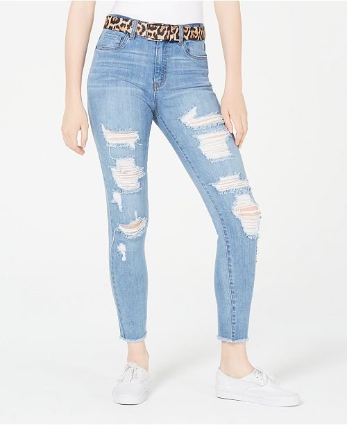 Dollhouse Juniors' Ripped Skinny Jeans With Belt