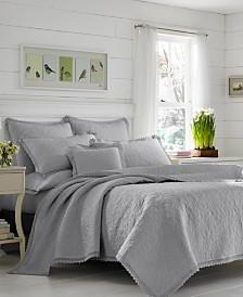Laura Ashley Heirloom Crochet Grey Quilt Set, King