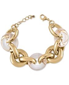 RACHEL Rachel Roy Gold-Tone & Acrylic Large Link Bracelet