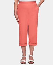 Petite Coastal Drive Embellished-Hem Cropped Pants