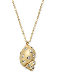 "kate spade new york Gold-Tone Pavé Shell Pendant Necklace, 16"" + 3"" extender"
