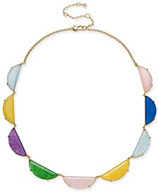 "Gold-Tone Stone Half-Circle Collar Necklace, 16"" + 3"" extender"