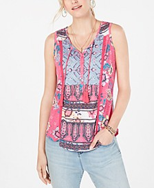 Mixed-Print Tassel-Tie Top, Created for Macy's