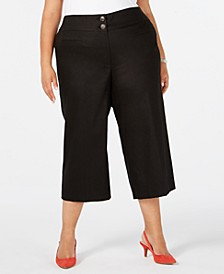 Plus Size High-Waist Wide-Leg Capris, Created for Macy's
