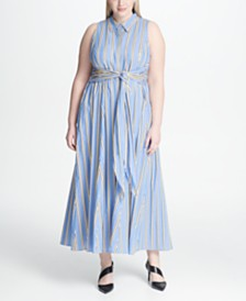 Tommy Hilfiger Plus Size Regent-Stripe Tie-Front Dress