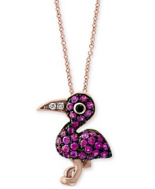 """EFFY® Certified Ruby (1/4 ct. t.w) & Diamond Accent Flamingo 18"""" Pendant Necklace in 14k Rose Gold"""