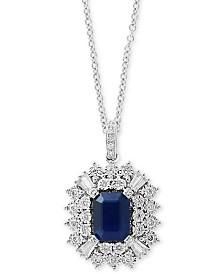 "EFFY® Sapphire (1-1/2 ct. t.w.) & Diamond (3/8 ct. t.w.) 18"" Pendant Necklace in 14k White Gold"