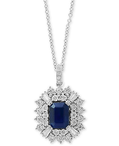 """EFFY Collection EFFY® Sapphire (1-1/2 ct. t.w.) & Diamond (3/8 ct. t.w.) 18"""" Pendant Necklace in 14k White Gold"""
