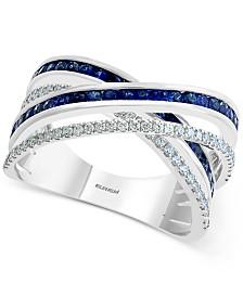 EFFY® Sapphire (5/8 ct. t.w.) & Diamond (1/3 ct. t.w.) Statement Ring in 14k White Gold