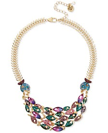 """Betsey Johnson Gold-Tone Stone School of Fish Statement Necklace, 16"""" + 3"""" extender"""
