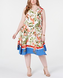 Tommy Hilfiger Plus Size Printed Sleeveless Dress, Created for Macy's