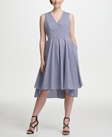 DKNY Cotton Gingham High-Low Fit & Flare Dress