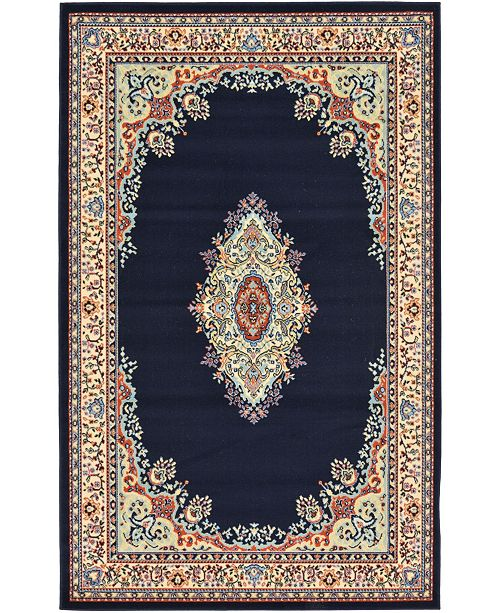 Bridgeport Home Birsu Bir1 Navy Blue 5' x 8' Area Rug