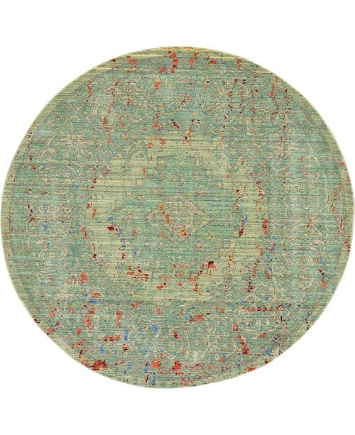 Bridgeport Home Malin Mal7 Green 6' x 6' Round Area Rug