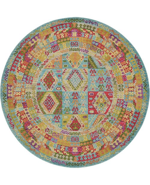 Bridgeport Home CLOSEOUT! Arcata Arc9 Light Blue 8' x 8' Round Area Rug