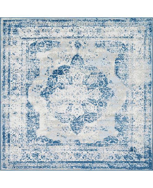 Bridgeport Home Basha Bas2 Blue 8' x 8' Square Area Rug