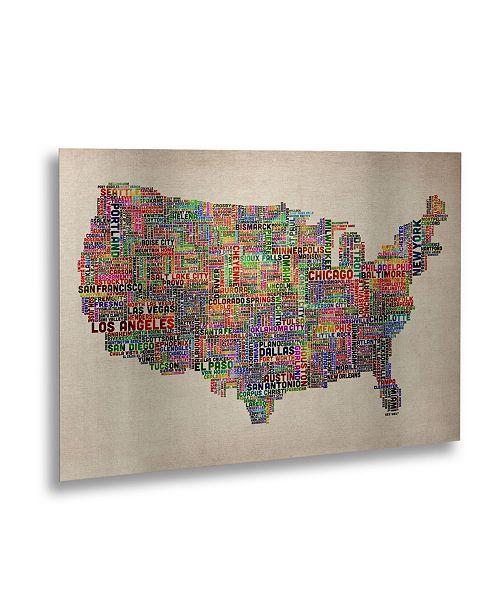 "Trademark Global Michael Tompsett 'US Cities Text Map VI' Floating Brushed Aluminum Art - 16"" x 22"""