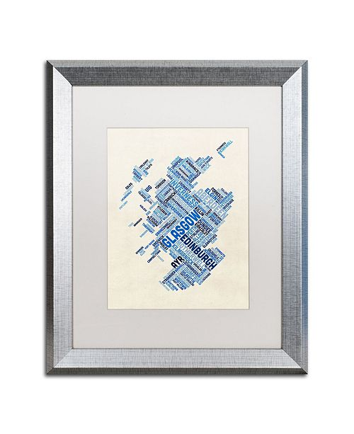 "Trademark Global Michael Tompsett 'Scotland Typography Text Map 5' Matted Framed Art - 16"" x 20"""