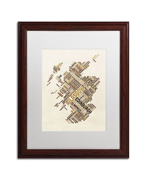 "Trademark Global Michael Tompsett 'Scotland Typography Text Map 6' Matted Framed Art - 16"" x 20"""