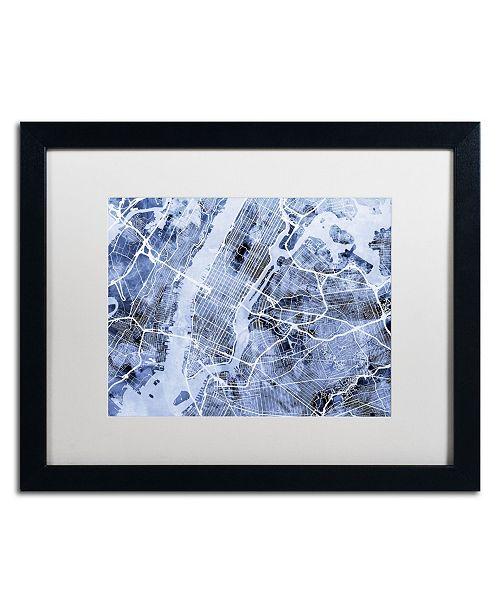 "Trademark Global Michael Tompsett 'New York City Street Map B&W' Matted Framed Art - 16"" x 20"""