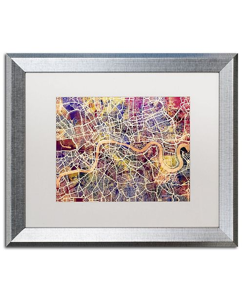 "Trademark Global Michael Tompsett 'London England Street Map' Matted Framed Art - 16"" x 20"""