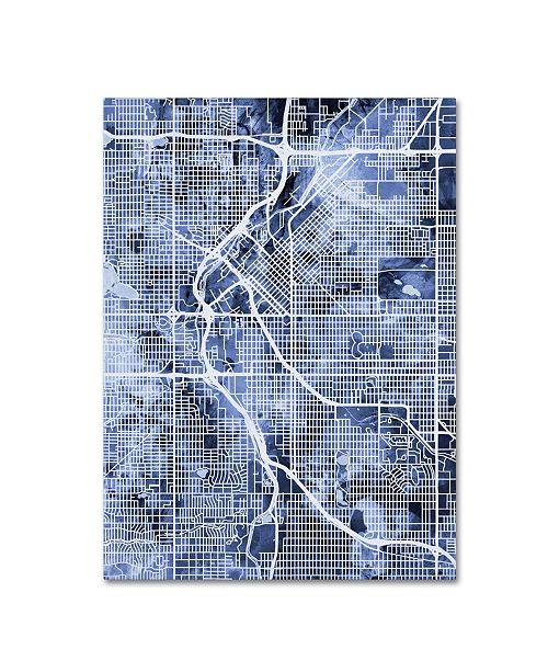 "Trademark Global Michael Tompsett 'Denver Colorado Street Map B&W' Canvas Art - 18"" x 24"""
