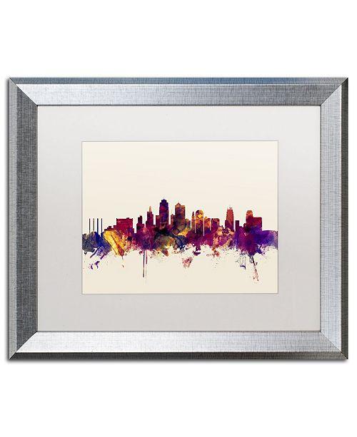 """Trademark Global Michael Tompsett 'Kansas City Skyline' Matted Framed Art - 16"""" x 20"""""""