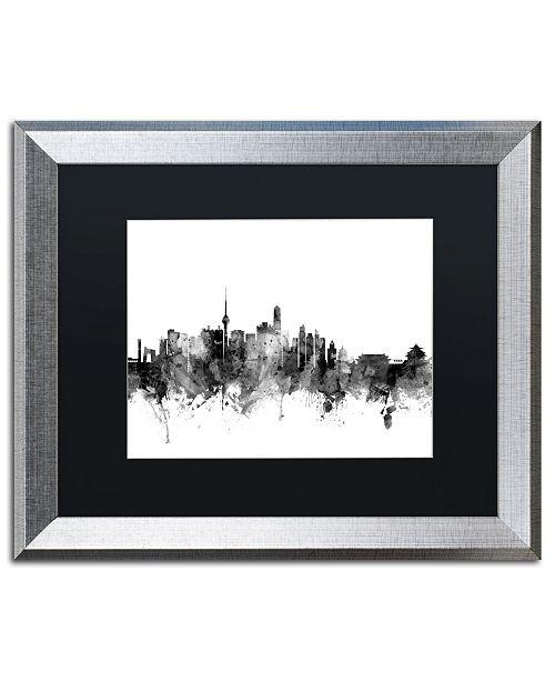 """Trademark Global Michael Tompsett 'Beijing China Skyline B&W' Matted Framed Art - 16"""" x 20"""""""