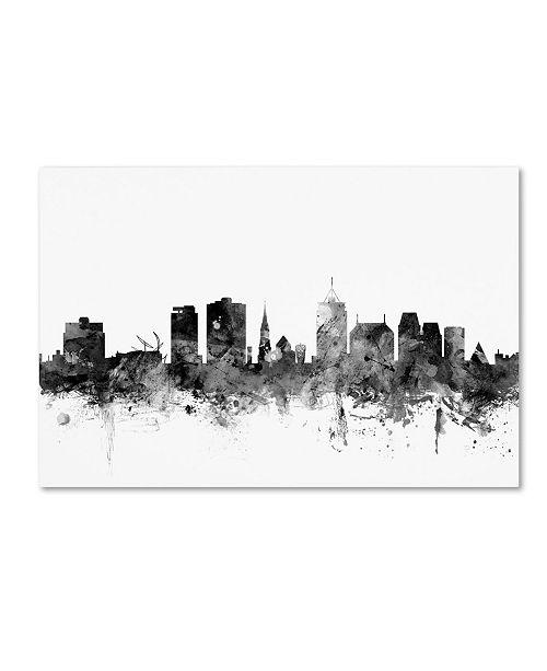 """Trademark Global Michael Tompsett 'Christchurch NZ Skyline B&W' Canvas Art - 16"""" x 24"""""""
